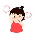 little girl got high temperature cartoonxa vector image