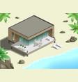modern bungalow on coast vector image