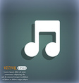 Music note icon symbol on the blue-green abstract vector image