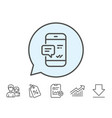 phone message line icon mobile chat sign vector image