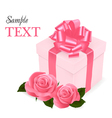 pink roses and gift box vector image