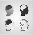 silhouette head with the brain set vector image