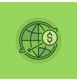 Transfer money green icon vector image