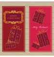 Merry christmas cards on wooden background vector image vector image