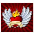 fiery heart vector image vector image
