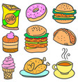 doodle of food with donut coffe vector image
