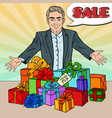 pop art smiling seller with gift boxes vector image