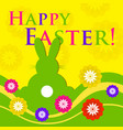 easter colored greeting card - rabbit with flowers vector image