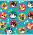 cats and fishbone full color vector image
