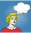 girl with thoughts bubble in pop art comics style vector image