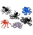 Colorful and black cartoon octopus characters vector image vector image