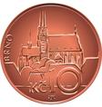 gold Money ten czech crones coin reverse vector image