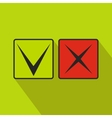Tick and cross icon flat style vector image vector image