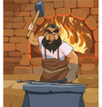 cartoon male blacksmith forges a sword in smithy vector image