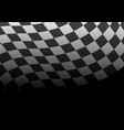 checkered flag wave black background race vector image