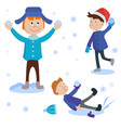 christmas kids playing winter games cartoon new vector image