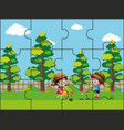 jigsaw puzzle pieces for kids in the park vector image