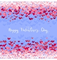 Valentines Day greeting in frame of red hearts vector image
