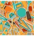 Hairdressing tools seamless pattern in retro style vector image