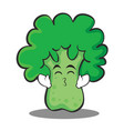 kissing smile eyes broccoli chracter cartoon style vector image