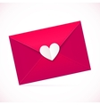 Pink paper envelope with white heart vector image