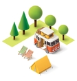 isometric camper travel icon vector image vector image