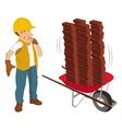 construction worker wheelbarrow vector image