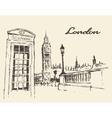 Streets in London England Bus Big Ben drawn vector image