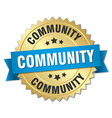 community 3d gold badge with blue ribbon vector image