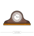 Flat colored mantel clock isolated on white vector image