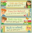 kids in school banners vector image