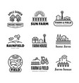 retro farm and organic products emblems and vector image
