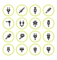 Set round icons of plugs and connectors vector image