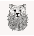 Sketch Bear with a beard Hand drawn Doodle style vector image
