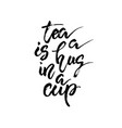tea is a hug in a cup hand drawn calligraphy vector image