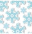 volumetric snowflakes seamless pattern new year s vector image