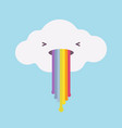 white cloud vomiting with a rainbow vector image