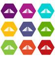 ziggurat in chichen itza icon set color hexahedron vector image