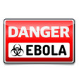 ebola virus danger sign with reflect and shadow vector image
