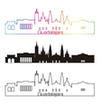 Guadalajara skyline linear style with rainbow in vector image