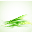 green abstract wavy background vector image vector image