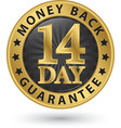 14 day money back guarantee golden sign vector image