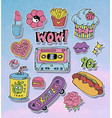 cartoon stickers or patches set with 90s style vector image