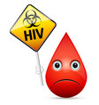 the sad drop of blood with yellow hiv virus vector image