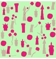 seamless pattern of houses and flowers vector image