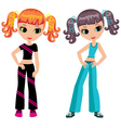 Two girls who are going in for sports vector image vector image
