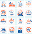 Set of Retro Summer Holidays Design Elements vector image