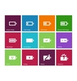 Battery icons on color background vector image
