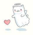 cartoon cat pictured as a little angel with wings vector image