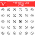 prohibited signs line icon set forbidden symbols vector image